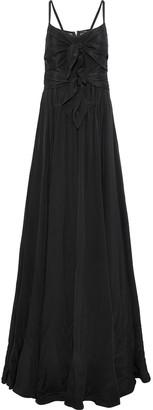 Derek Lam Mesh-paneled Knotted Silk Gown