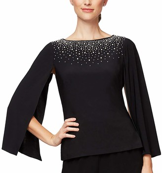 Alex Evenings Women's 3/4 Blouse with Beading Detail and Split Sleeve