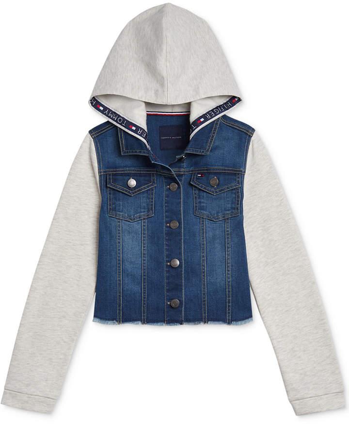 ab1cdd6bf Big Girls Mixed-Media Hooded Jacket