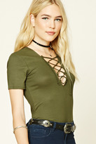 Forever 21 FOREVER 21+ Lace-Up Ribbed Top