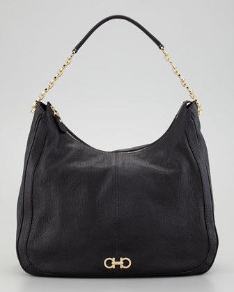 Salvatore Ferragamo Conny Leather Zip Hobo Bag, Black
