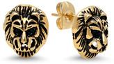 Steel Time Women's Earrings yellow - 18k Gold-Plated Lion Head Stud Earrings