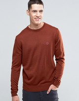Pretty Green Jumper With Crew Neck In Slim Fit Spice Red
