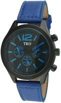 JCPenney TKO ORLOGI Mens Blue Leather Strap Multifunction-Look Watch