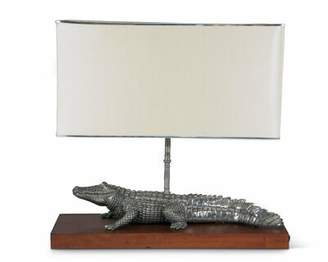 """Vagabond House Tropical Tales Pewter Alligator 24"""" Table Lamp House"""