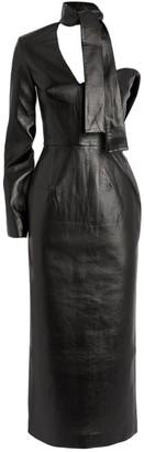 MATÉRIEL Faux Leather One-Shoulder Dress