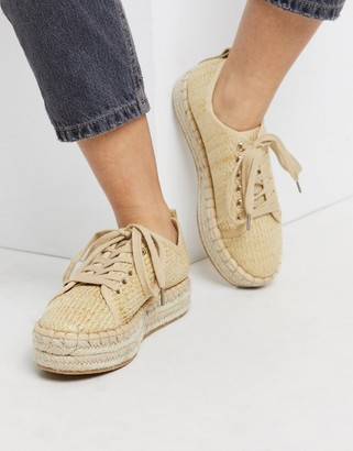 Miss Selfridge espadrille sneakers in beige