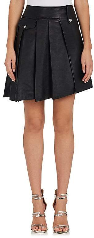 Paco Rabanne WOMEN'S PLEATED LEATHER MINISKIRT