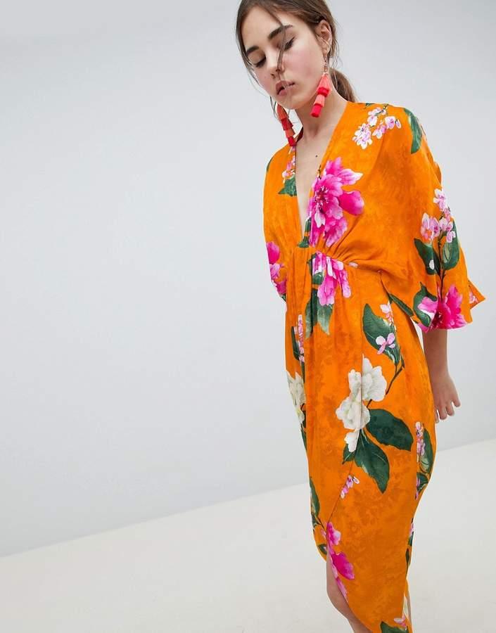 Asos Design DESIGN Kimono Midi Dress In Bold Floral Jacquard