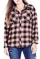 City Chic Plus Dusty Duke Checkered Cotton Button-Down Shirt