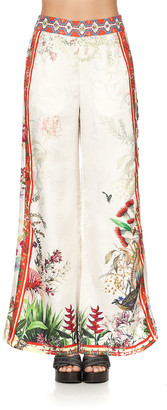 Camilla Printed Silk Flared Pants w/ Side Panels