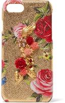 Dolce & Gabbana Embellished Metallic Textured-leather Iphone 7 Case - Gold