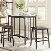 Inspire Q Darcy Faux Marble Top Black Metal 3-piece Counter Height Dining Set