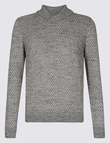 M&S Collection Cotton Rich Textured Shawl Neck Jumper