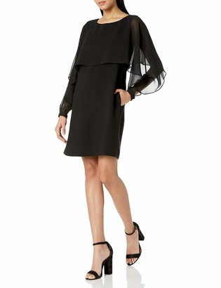 Nanette Nanette Lepore Women's Long Sleeve Shift Dress W/Chiffon Popover