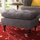 Andover Mills Samantha Contemporary Button Tufted Standard Ottoman Fabric: Charcoal Grey