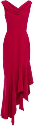 Reem Acra Asymmetric Draped Crepe Maxi Dress