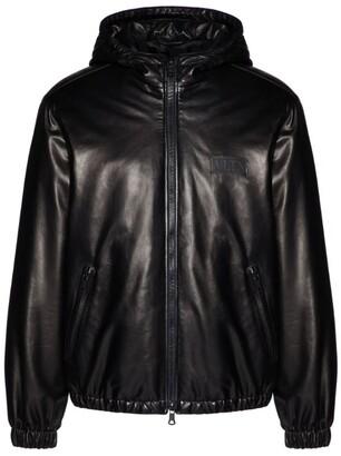 Valentino Leather Hooded Bomber Jacket