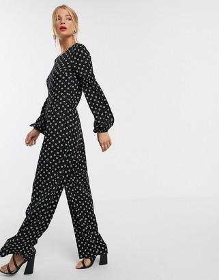 Asos Design DESIGN jumpsuit with elasticated sleeve detail in polka dot-Multi