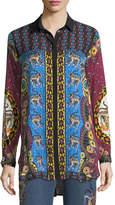 Etro Animal Jacquard Button-Front Silk Blouse
