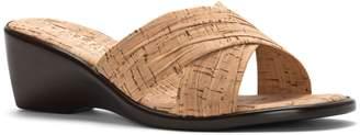 Italian Shoemakers Mustard Cross-Strap Wedge Sandals