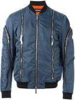 DSQUARED2 zip detail bomber jacket - men - Cotton/Leather/Polyamide/PVC - 52