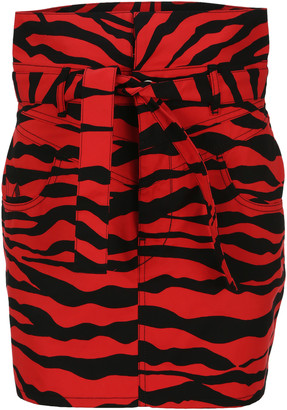 ATTICO virgi Zebra Print Mini Skirt