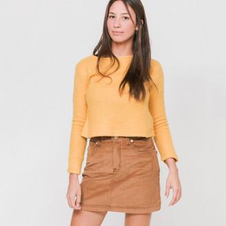 Side Party - Julia Boat Neck Cropped Orange Jumper - L - Yellow/Orange