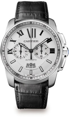 Cartier Calibre de Stainless Steel & Black Alligator-Strap Chronograph Watch