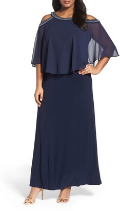 Alex Evenings Embellished Cold Shoulder Popover Gown