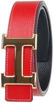 Moraner Golden fame New Designer H Buckle Belt, High Quality Luxury Men's Leather Waist Belts Gold buckle/red 32in