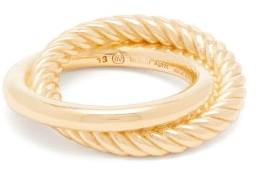 Bottega Veneta Half-twist Double-hoop Ring - Womens - Gold
