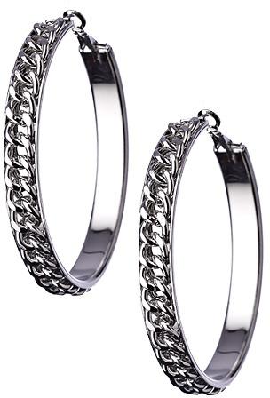 Blu Bijoux Silver Curb Chain Hoop Earrings