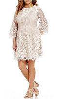 Eliza J Plus Bell-Sleeve Lace Fit-and-Flare Dress