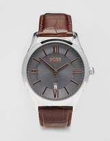 Boss By Hugo Boss Ambassador Brown Leather Strap Watch 1513041