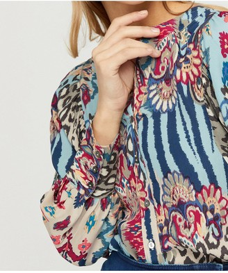 Monsoon Mercy Print SustainableBlouse - Blue