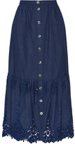 Miguelina Adrienne Crochet-trimmed Cotton Maxi Skirt - Indigo
