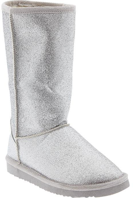Old Navy Girls Faux Fur-Lined Glitter Boots