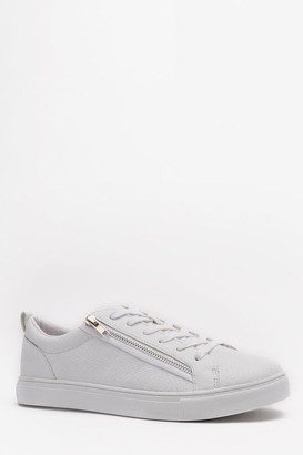 boohoo Mens White Lace Up Zip Side Trainer, White