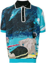 No.21 knitted surfer print polo shirt