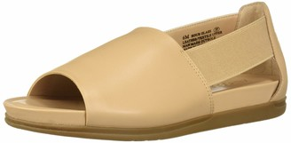 Aerosoles Women's Hour Glass Loafer Flat - Opened Toed Casual Shoe with Memory Foam Footbed (7W - Lt Tan Leather)