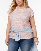 Tommy Hilfiger Plus Size Lace-Front Top, Created for Macy's