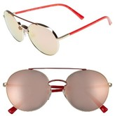 Valentino Women's 55Mm Aviator Sunglasses - Shiny Light Gold/ Red