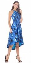Carmen Marc Valvo Print High Low Halter Cocktail Dress