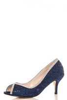 Quiz Navy Diamante Lace Peep Toe Court Shoes