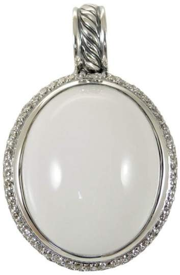 David Yurman Sterling Silver Diamonds and White Agate Pendant