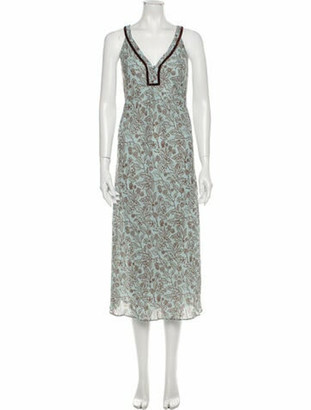 Oscar de la Renta Printed Long Dress Green