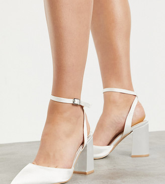Be Mine Wide Fit Be Mine Bridal Wide Fit Neima block heeled shoes in ivory satin