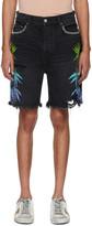 Amiri Black and Multicolor Denim Leaves Shorts