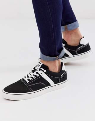 Jack and Jones canvas skater sneakers in black